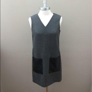 Ann Taylor Petite Gray V-Neck Dress